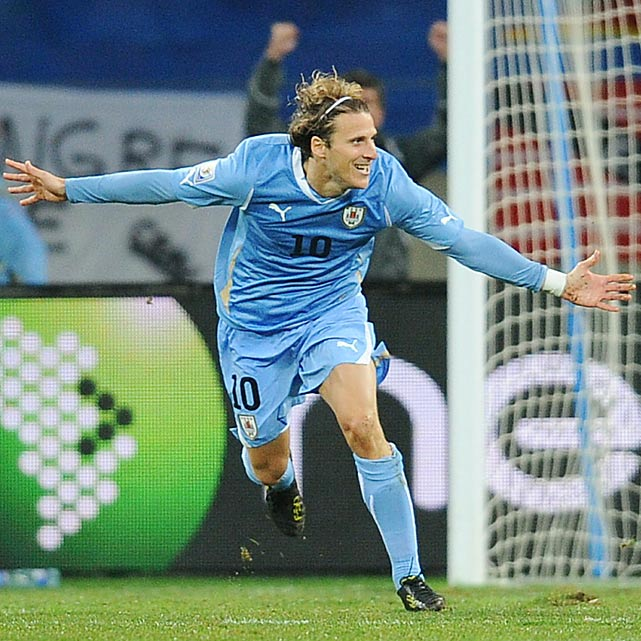 Diego Forlan gave Uruguay a 2-1 lead with a 51st-minute strike, his fifth goal of the World Cup. At times, Forlan carried Uruguay in the tournament and, of all forwards, best-controlled the unpredictable Jabulani ball.