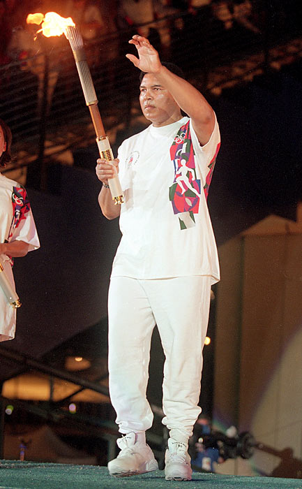 The opening ceremony takes place in Atlanta for the Games of the XXVI Olympiad, unofficially known as the Centennial Olympics. Muhammad Ali lit the Olympic torch.