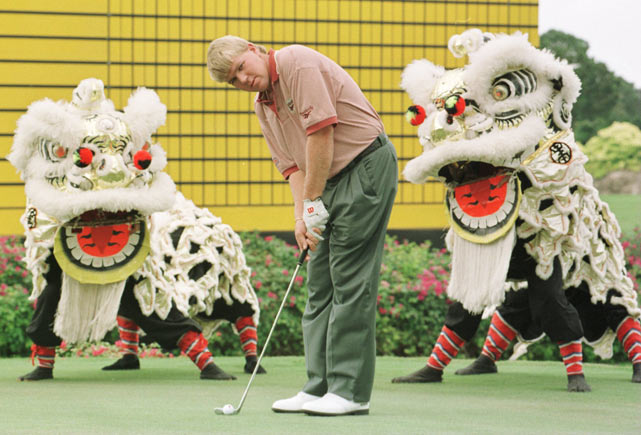 Daly didn't let dragons distract him as he teed off at the pro-celebrity shootout of the Johnnie Walker Classic in Singapore.