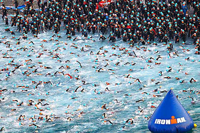 An aerial view showing the 2,500 triathletes at the start of the Ironman Triathlon on June 26 in Nice, France.