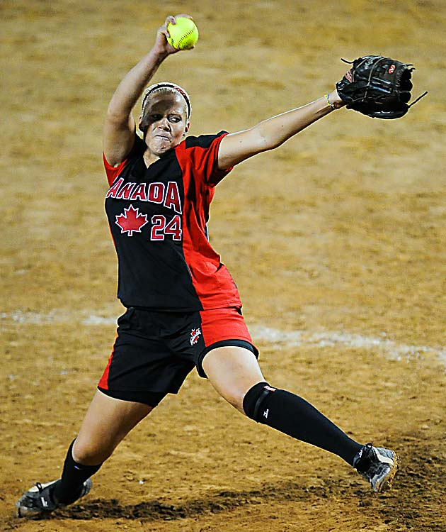 Canada pitcher Ashley Lanz throws against Japan during the 12th Women's Softball World Championship on July 2 in Caracas, Venezuela. Japan defeated Canada 12-3 to advance to the finals, where they lost to the United States 7-2.