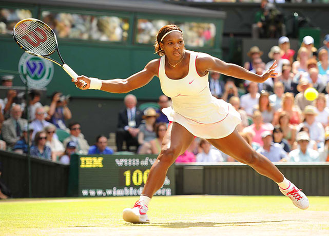 Serena Williams returns a ball to Russia's Vera Zvonareva during the women's Wimbledon final July 3. Williams won 6-3, 6-2 for her fourth Wimbledon crown and her 13th Grand Slam title.