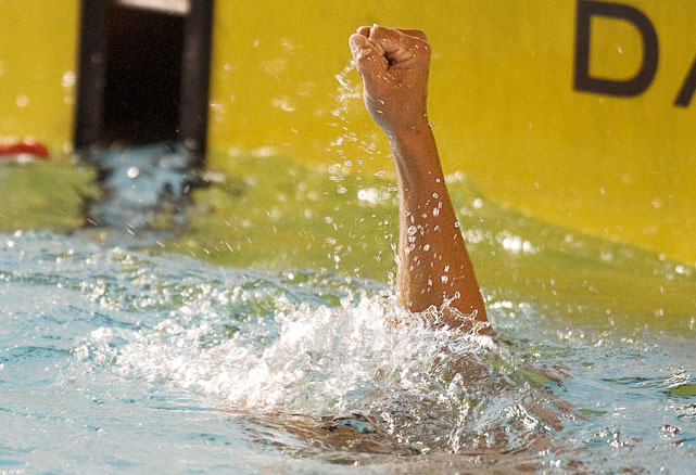 Alejandro Gomez of Venezuela celebrates after winning the 1,500 meter freestyle at the XXI Central American & Caribbean Games in Mayaguez Puerto Rico on July 18.