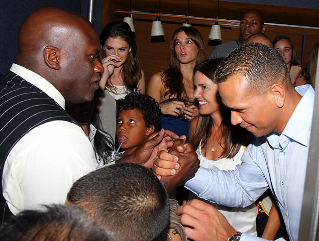 Shaq greets A-Rod at his MLB All-Star Week party at the 40/40 club in New York City.