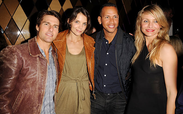TomKat and...CamRod? Rodriguez and actress Cameron Diaz pose here with Hollywood power-couple Tom Cruise and Katie Holmes at the W Hotel in South Beach during the CAA Super Bowl party in 2010.