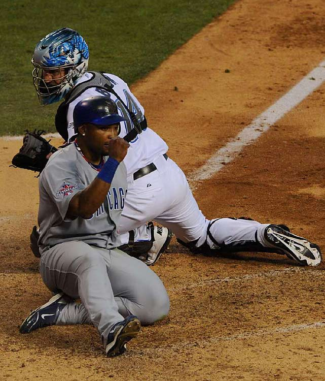 Marlon Byrd scored from first base on McCann's double, just beating the tag of Toronto Blue Jays catcher John Buck. Byrd later made an alert play in the ninth to help seal the win for the National League.