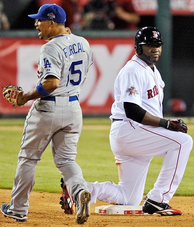 Red Sox designated hitter David Ortiz was thrown out from the outfield trying to advance from first base to second base in the ninth inning. The crucial play kept the American League from mounting a rally against Dodgers closer Jonathan Broxton.