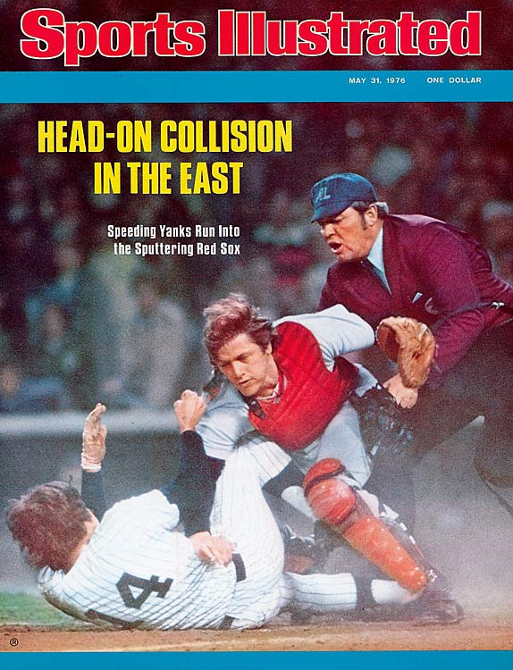 After the two triggered a bench-clearing brawl from this collision at home plate, Piniella and Red Sox catcher Carlton Fisk covered Sports Illustrated the following week.