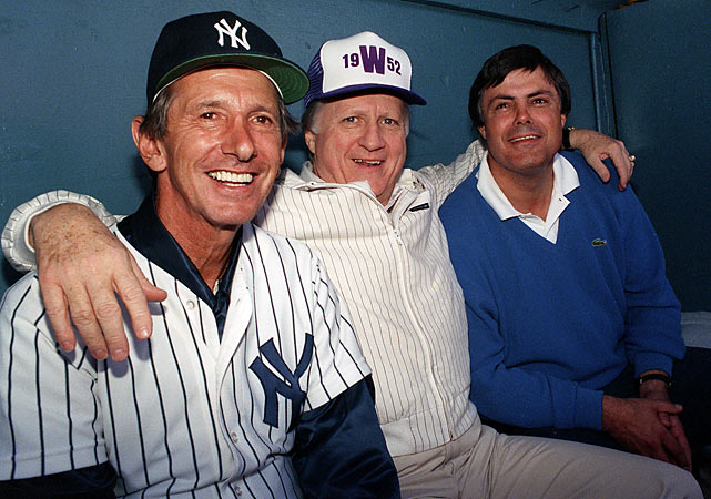 The late Yankees owner George Steinbrenner flanked by Piniella and Billy Martin during spring training of 1988.