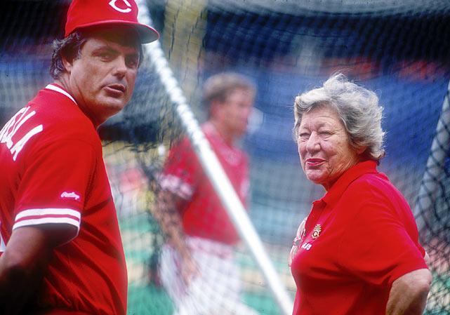 Piniella and Reds owner Marge Schott in Cincinnati in 1991.