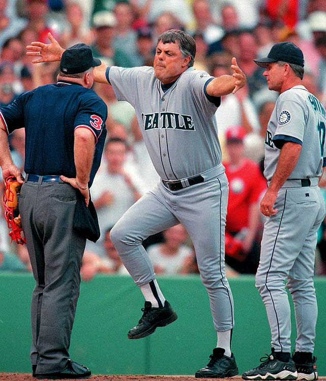 In 1999, Piniella was ejected a career-high five times. This one came in a 13-2 loss to the Red Sox.