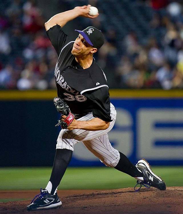 Jimenez started off the Year of the Pitcher on April 17, when he fired the season's first no-hitter against the Braves. The first no-hitter in Rockies' history, Jimenez needed a laborious 128 pitches to retire 31 Braves. He walked six -- all in the first five innings -- and struck out seven. With his fastball still reaching 98 mph, Jimenez retired Chipper Jones and Brian McCann to end the game, throwing his arms in the air in celebration.