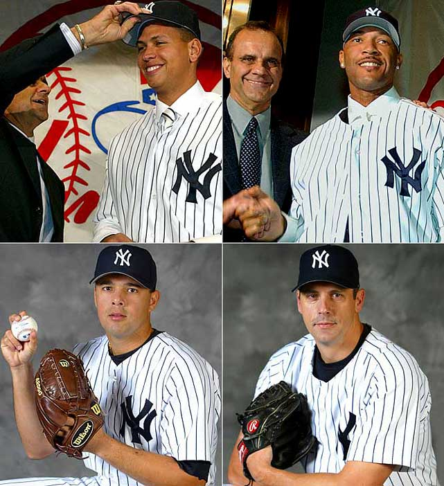 In an orgy of extravagance, A-Rod and the $179 million left on his record $252 million, 10-year deal (Texas will pay $67 million of it, the most cash in a trade in big league history) arrive for Alfonso Soriano and a player to be named. Kevin Brown and his $15 million contract is brought in from L.A. for Jeff Weaver, two prospects and $3 million. Slugger Gary Sheffield is signed for three years at $36 million. Pitcher Javier Vazquez is acquired from Montreal for Nick Johnson, Juan Rivera and Randy Choate. Starter Jon Lieber (two years, $4 million), reliever Tom Gordon (two years, $7.25 million) and outfield Kenny Lofton (one year, $6 million) round out the bonanza.
