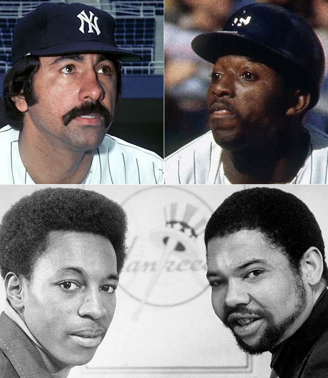 "Key components of the Yankees' return to glory arrive via trades with the Angels (clockwise from top left) (starting pitcher Ed Figueroa and beloved speedy centerfielder Mickey ""the Great Gozzlehead"" Rivers) and Pirates (starter Dock Ellis and second base mainstay Willie Randolph)."