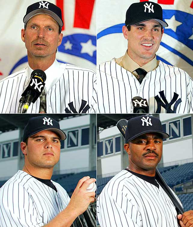 Crabby old nemesis Randy Johnson arrives from Arizona in a trade for pitchers Javier Vazquez and Brad Halsey, minor league catcher Dioner Navarro and $9 million. In one of their more infamous moves, pitcher Carl Pavano receives a four-year, $40 million deal and earns the nickname American Idle by spending most of the next three years on the DL. Brittle hurler Jaret Wright gets a three-year deal worth $21 million, and the ultimately useless Tony Womack gets two years at $4 million.