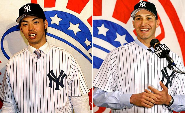 Unproven pitcher Kei Igawa is signed for five years at $20 million. Andy Pettitte returns to the scene of his former glory, with a one-year deal worth $16 million and a $16 million option for 2008.