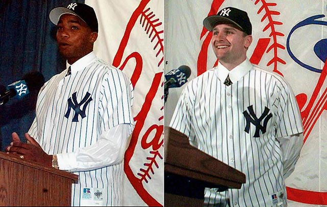 "All-Star second baseman Chuck Knoblauch arrives from Minnesota in a trade for pitching prospect Eric Milton, minors Danny Mota, Brian Buchanan and Cristian Guzman, and $3 million. Pitcher Orlando ""El Duque"" Hernandez, a Cuban defector, is brought aboard with a four-year deal worth $6.6 million."