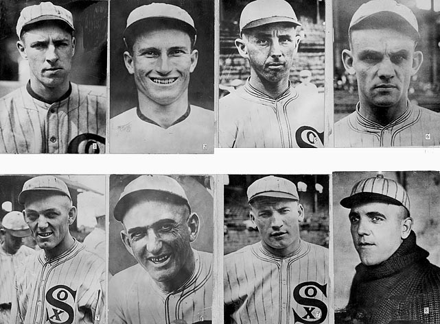 """There have been many attempts to tell the """"true story"""" about the Black Sox -- how they were mistreated by penny-pinching  owner Charlie Comiskey, how Shoeless Joe Jackson never really took money and played his hardest at all times, how Buck Weaver only knew about the scheme but was not part of it -- but in the end the main story was this: The 1919 White Sox threw the World Series.  Top row:  Swede Risberg, Fred McMullin, Lefty Williams, Chick Gandil  Bottom row:  Buck Weaver, Shoeless Joe Jackson, Happy Felsch and Eddie Cicotte"""