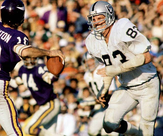 """Beginning with Al Davis' arrival as coach in 1963, you could hate any Oakland Raiders team for the next quarter century. The franchise's slogans -- """"The Pride and Poise Boys"""" and """"Just Win, Baby"""" -- reeked of arrogance. Raiders rosters included hard-edged players such as Ted Hendricks. Defensive back Jack Tatum left Patriots receiver Darryl Stingley a quadriplegic, then had the gall to publish an autobiography titled They Call Me Assassin. Why pick '76? Oakland was behind late in the 1976 AFC Divisional Playoff round when a controversial roughing the passer call against the Patriots set up Raiders quarterback Ken Stabler's bootleg touchdown run with just 10 seconds remaining. The Raiders would go on to win the only Super Bowl in John Madden's regime."""