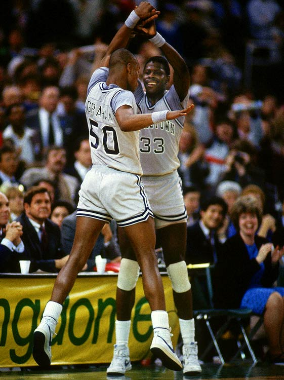 """The scowling Hoyas made many observers uncomfortable with their style and, truth be told, appearance. Coach John Thompson, all 6-foot-10 inches and 300 pounds of him, towered over an all-black roster led by Patrick Ewing's equally towering 7-foot presence. """"People would heckle and we would see a lot of signs, particularly about Patrick, about how he couldn't read or some other personally offensive things,"""" Thompson said. """"There definitely were some racial aspects to it, but that's what was there. If we had been all white, it probably would have been our size [they criticized]."""""""