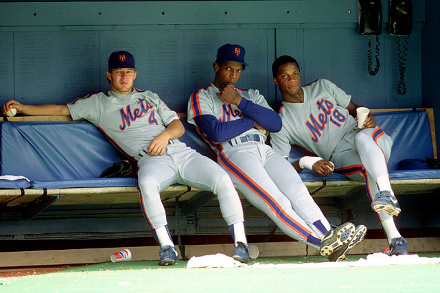 """The hard-partying crew (seen here, left to right, are Lenny Dykstra, Dwight Gooden and Darryl Strawberry) infamously trashed their flight home from the NLCS Championship Series win over Houston.The 1962 Mets were lovable losers, but this group were detestable winners of 108 regular-season games. Pitcher Bob Ojeda admitted in author Jeff Pearlman's book The Bad Guys Won that """"we were a bunch of vile f------."""" Bristling with arrogance and trash-talkers, this hard-partying crew had a trio of players (Jesse Orosco, Danny Heep, Doug Sisk) who charmingly called themselves """"the Scum Bunch."""" The Mets were involved in four on-field brawls that season as well as a fracas in the Houston nightclub Cooters, and infamously trashed their flight home from the National League Championship Series in a drunken orgy that could have made the ancient Romans blush."""
