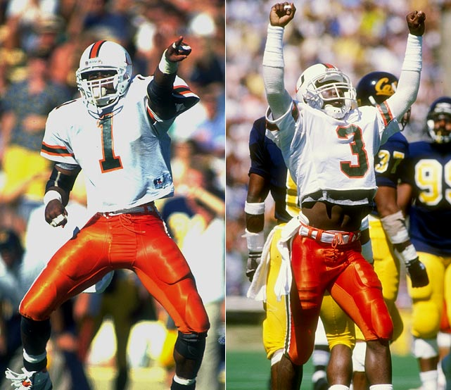"""The Hurricanes were penalized for a bowl-record nine unsportsmanlike conduct penalties in the 1991 Cotton Bowl against Texas, prompting the NCAA to institute the so-called """"Miami Rule,"""" which penalizes a team 15 yards for excessive celebration or taunting. These guys knew people despised them, and reveled in the fact."""