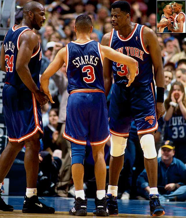 """These Knicks were a collection of chest-pounding, elbow-throwing players who won without any of the aesthetically pleasing basketball that their famously suave coach, Pat Riley, had overseen during his tenure with the """"Showtime"""" Lakers. Yes, the likes of Charles Oakley, Anthony Mason, John Starks, Derek Harper and Greg Anthony defined grittiness in complementing star center Patrick Ewing, and the Knicks were statistically a great defensive team. But their rough-and-tumble style went over so well that after their seven-game loss to the Rockets in the low-rated 1994 Finals, the NBA cracked down on hand-checking in an effort to liberate perimeter scorers and increase scoring."""