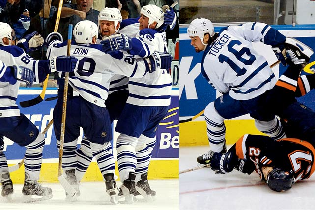 The 2001-02 Maple Leafs were a team of enforcers, including Darcy Tucker, who drew the ire of the NHL after hip-checking Islanders' star Michael Peca into the boards in Game 5 of the first round of the playoffs, tearing Peca's ACL and MCL and knocking him out for the rest of the playoffs. The Leafs would go on to lose in the Eastern Conference finals.