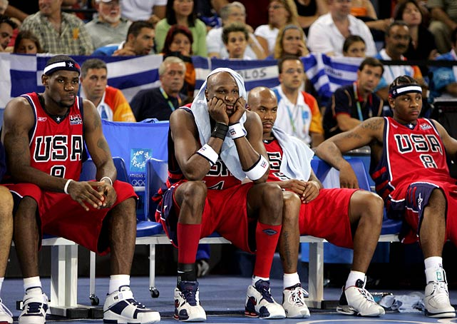 """By turns full of braggadocio (Carmelo Anthony guaranteed a gold as training camp opened) and seeming to shirk responsibility (""""It's not like it's the end of the world,"""" LeBron James said after a 19-point pool-play loss to Puerto Rico), this team could have been pronounced too young to know better: Anthony was 20, James 19, and it featured an average age of 23.6. But decorum and discipline were so poor that coach Larry Brown wanted to send several players home from Athens on the eve of the Games. After another pool-play loss, to Lithuania, and a medal-round defeat to eventual gold-medalist Argentina in the semifinals, Brown pronounced himself """"humiliated"""" and the alibis flew. The previous three """"Dream Teams"""" composed of U.S. professionals had lost a combined two games. This version lost three in the 2004 Olympics alone. It was the first time a U.S. team of professionals had failed to win gold."""
