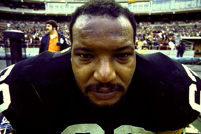 "A close-up look at Steelers defensive lineman Ernie Holmes, who was part of the team's ""Steel Curtain"" defense in '75."