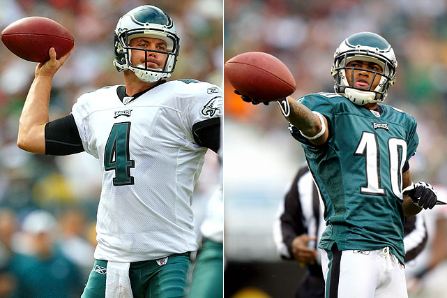After becoming the first player in NFL history to record back-to-back 300 yard passing games in his first two NFL starts, Kolb, the 2007 36th overall pick, is now the starting quarterback in Philadelphia, replacing Donovan McNabb. His deep threat is DeSean Jackson, the man who was on the receiving end of Kolb's first NFL touchdown -- a 71-yard pass down the sideline in a 48-22 loss to New Orleans.