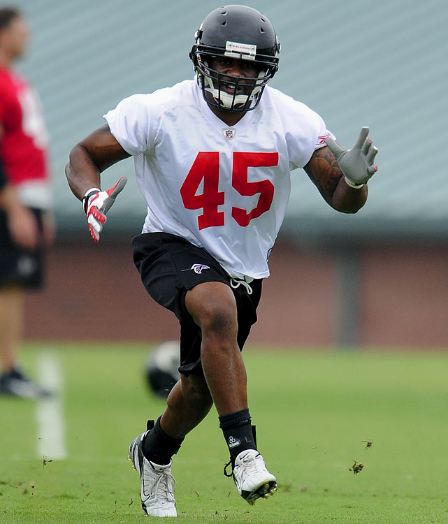 The 26-year-old James didn't make much of an impact last season with the Falcons, playing in only one game (no tackles) after missing his rookie year with a concussion. Now the fifth- round pick from Arizona State in 2008 will have to wait until Oct. 10 to try to make his mark at linebacker after being suspended for the first four games for violating the PED policy.