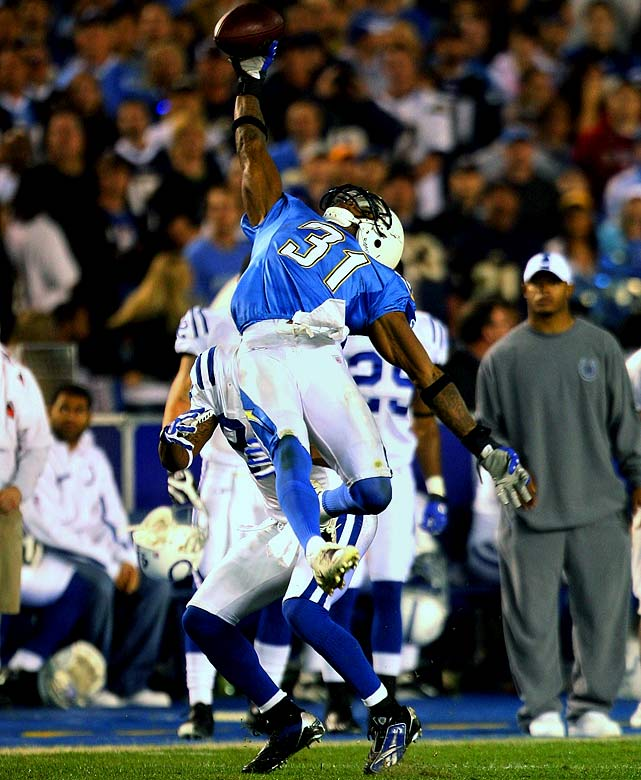 10 interceptions, 0 forced fumbles   Antonio Cromartie made the first start of his NFL career in 2007 against the Colts, proceeding to pick off three Peyton Manning passes, the last of which was a memorable leaping, one-handed grab over Reggie Wayne. He would set a franchise record with 10 interceptions, despite only starting in half of the Chargers' games.