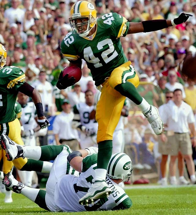 9 interceptions, 0 forced fumbles   In his 4th season in the NFL, Darren Sharper tallied nine of what are now 63 career interceptions. One of the most prolific defensive backs in NFL history, Sharper has matched that single season total twice, doing it for each of the three teams he's played for (Green Bay, Minnesota, New Orleans).  Send comments to siwriters@simail.com.