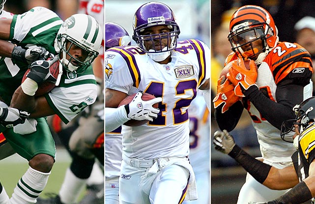 Law, NY Jets CB: 10 interceptions, 0 forced fumbles Sharper, Vikings FS: 9 interceptions, 1 forced fumble O'Neal, Bengals CB: 10 interceptions, 0 forced fumbles   In the first of two stints with the New York Jets, Law had a career-high 10 interceptions. Meanwhile, upon signing with the Minnesota Vikings, Sharper didn't waste any time making noise, returning an interception 88 yards for a touchdown against Tampa Bay, setting the tone for one of his best seasons. O'Neal's 10 interceptions broke a franchise record that had stood since 1976.