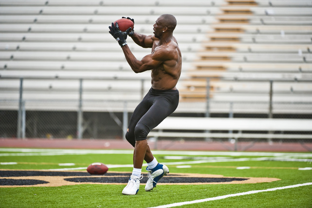 Owens works out at Calabasas High School in Calabasas, Calif. on Oct. 25, 2011. The workout was designed to show teams that the veteran wide receiver is fully recovered from ACL surgery, but no teams showed up to watch him in action.