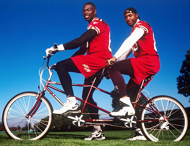Owens and fellow 49ers receiver J.J. Stokes formed a formidable tandem as a receiving duo in 1998. They also were a formidable duo on this tandem bicycle.