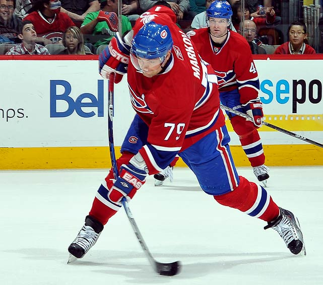 A solid all-around All-Star defenseman who moves the puck well and quarterbacks the power play, Markov is coming off an injury-plagued 2009-10 season in which he had ankle surgery. If he stays healthy, his value should be high.