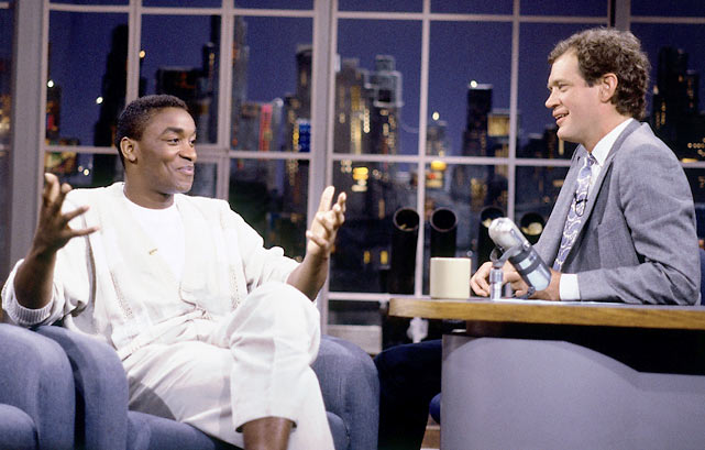 Thomas chats with David Letterman after the Pistons won the title.