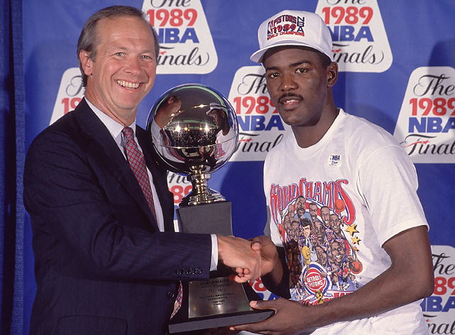 Though Isiah Thomas was the face of the Pistons, Dumars earned Finals MVP honors after his strong performance on offense and defense.
