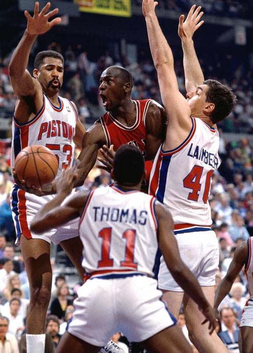 Though Michael Jordan averaged 35 points per game in the playoffs, the Pistons swarmed the Bulls guard as Detroit beat Chicago in six game to claim the Eastern Conference crown.