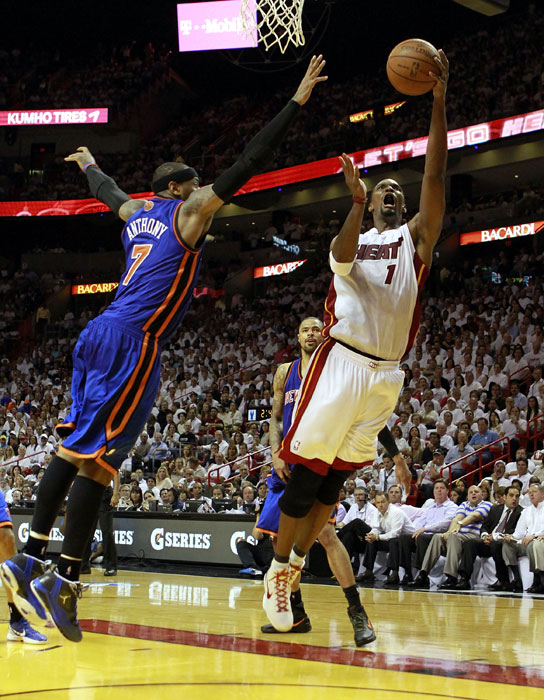 Bosh shoots a fadeaway over Carmelo Anthony during the first round of the 2012 Playoffs. Miami eliminated New York in five games.