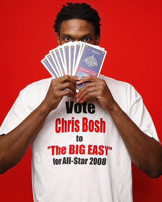 Bosh, holding a handful of ballots, makes his pitch for a spot in the all-star game.