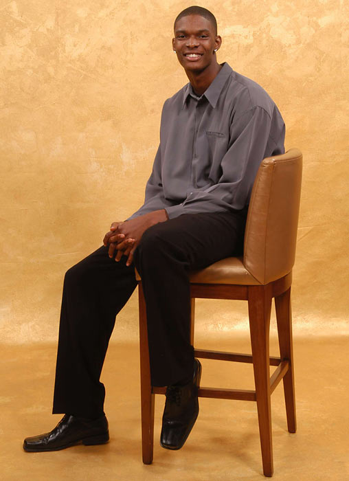 Bosh poses for media availability portraits after getting drafted by the Raptors.
