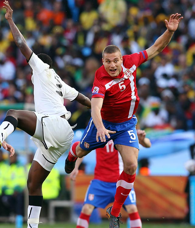 Much-fancied dark horse Serbia was one of the biggest flops, and Vidic (right) looked shaky throughout, even giving away a penalty against Germany with a mindless handball.