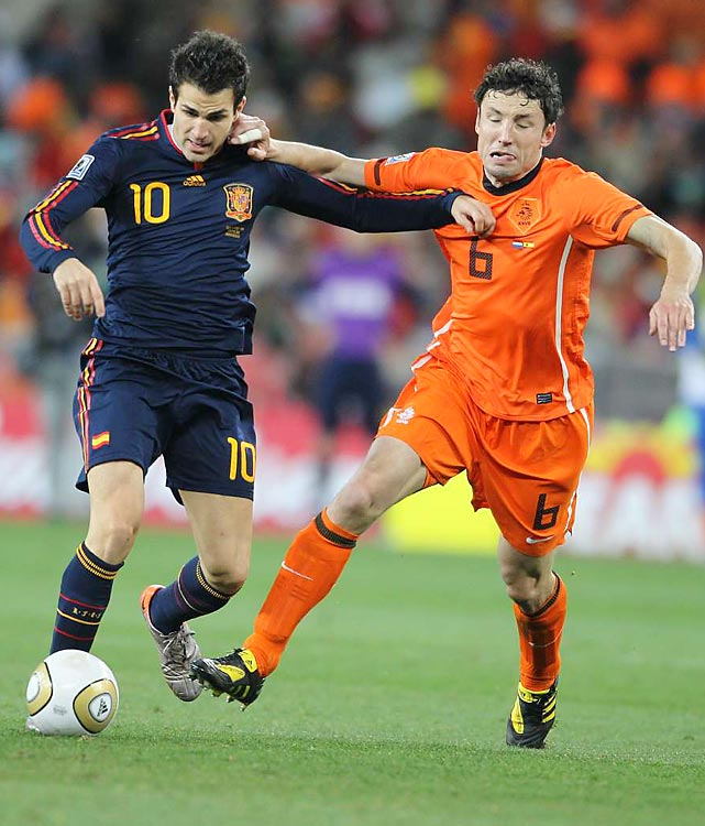 Spain's Cesc Fabregas (left) proved to be a super sub in the tournament. In the final, Fabregas came on in the 87th minute and helped set up Andres Iniesta's game winner in extra time.