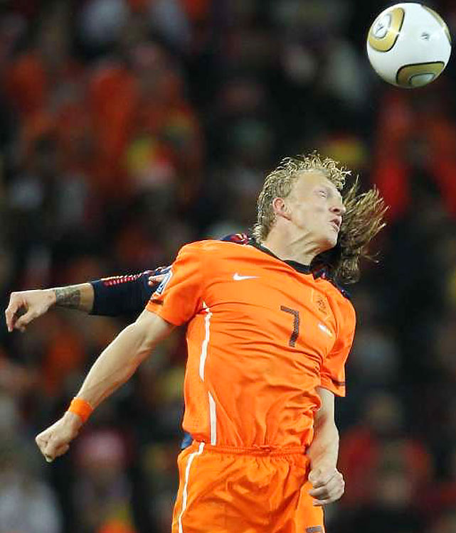 The Netherlands' Dirk Kuyt attemps a header. Kuyt was part of an attacking midfield that helped the Dutch go undefeated through qualifying and in South Africa -- until the final.