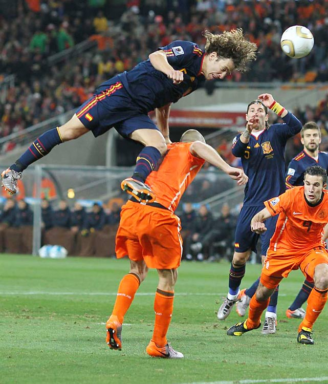 Spain's defense, led by Carlos Puyol (pictured), didn't give up a goal in the knockout rounds. Puyol was the hero in the semifinals, scoring in the 73rd minute against Germany to send Spain to its first World Cup final.