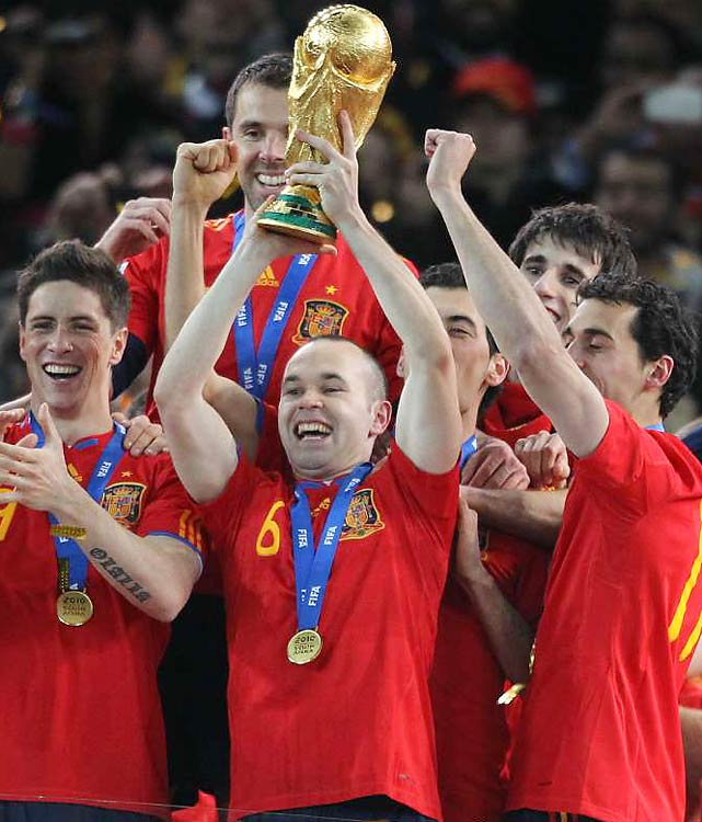 Andres Iniesta lifts the World Cup trophy for Spain, which came into the tournament as the second-ranked team in the world and the best country never to win the World Cup. Now, the Netherlands move on as the best to never win it.