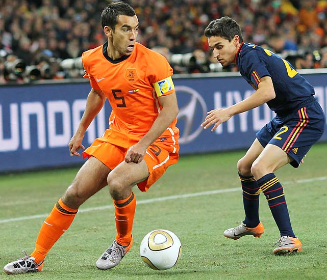 Dutch captain Giovanni van Bronckhorst announced before the tournament that he would retire from international competition after the World Cup. Van Bronckhorst was subbed out in the 105th minute and wasn't on the field when Spain finally broke through in the 116th minute.